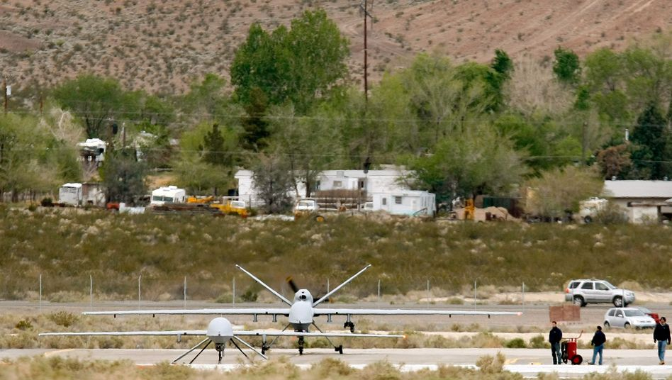Two American drones. The one in front is a Predator and the one behind is a Reaper.