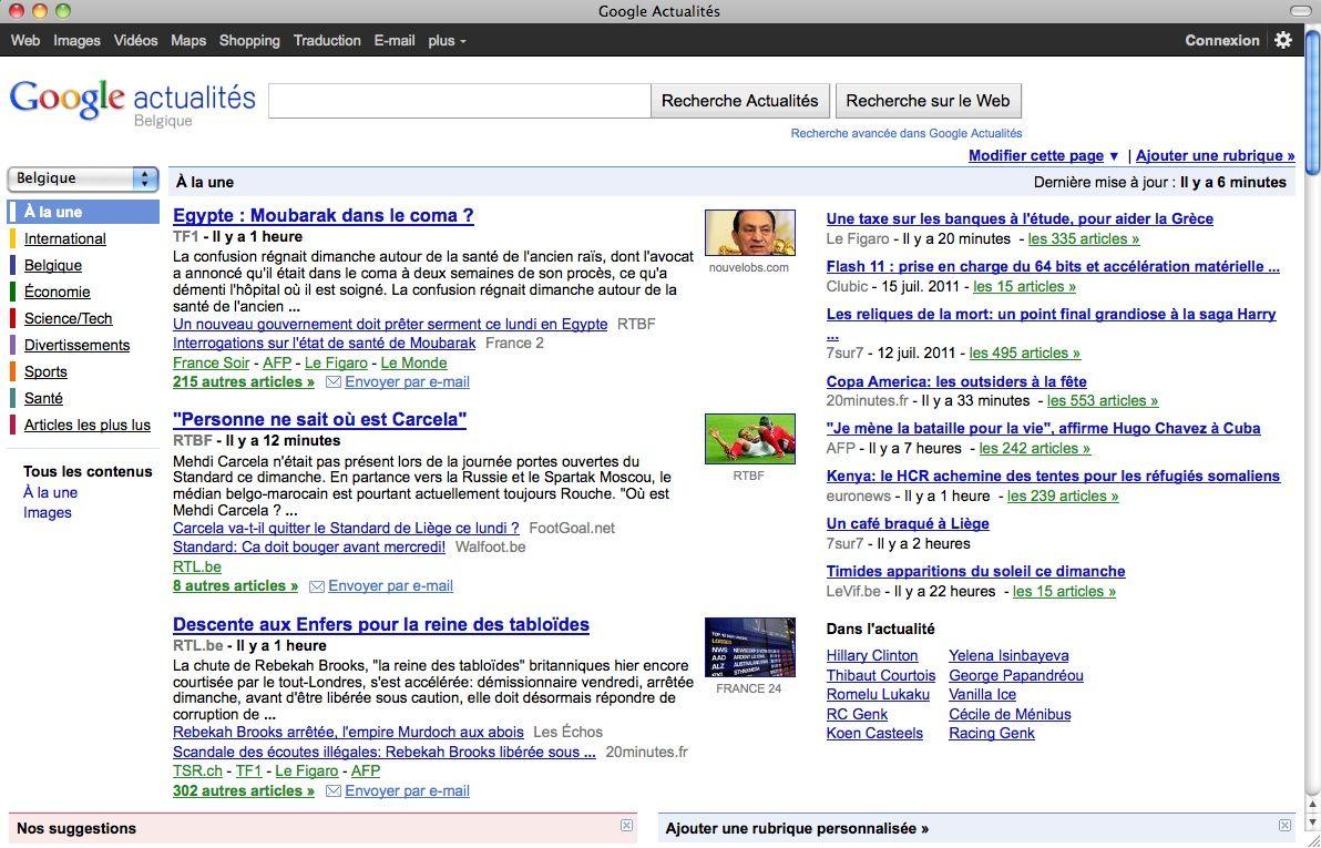 SCREENSHOT Google News Belgien / NETZWELT
