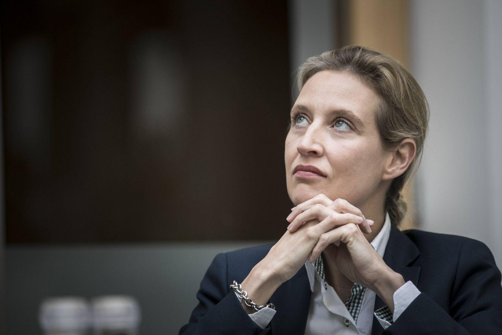 Alice Weidel Spitzenkandidatin der AfD Alternative fuer Deutschland aufgenommen vor einer Presse