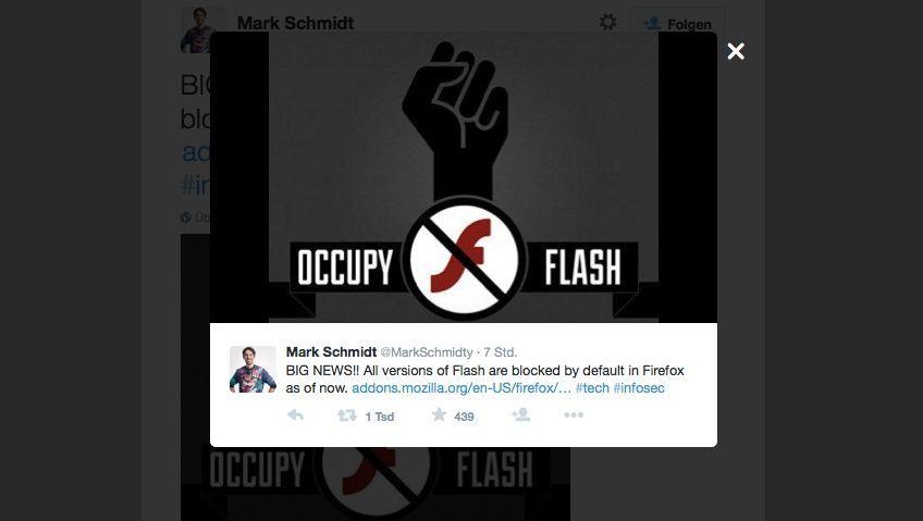 Grafik aus dem Tweet des Support-Chefs: Flash wird im Firefox-Browser vorerst blockiert