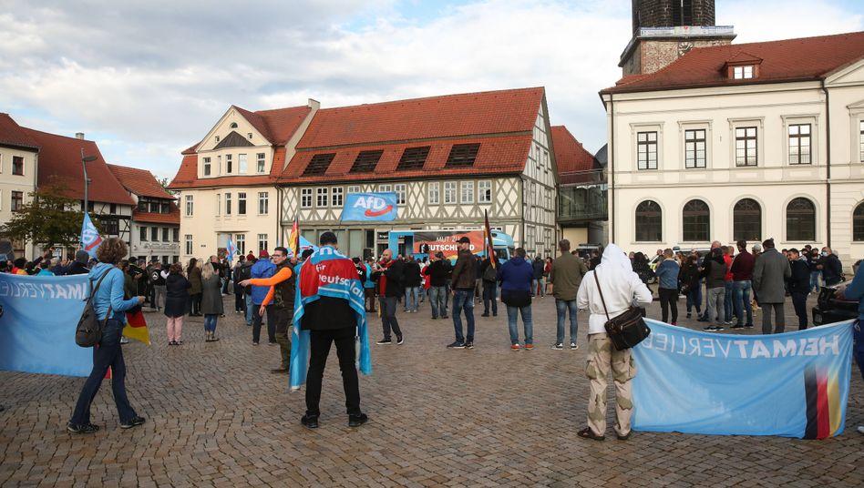AfD-Kundgebung auf dem Marktplatz in Haldensleben (Sachsen-Anhalt)