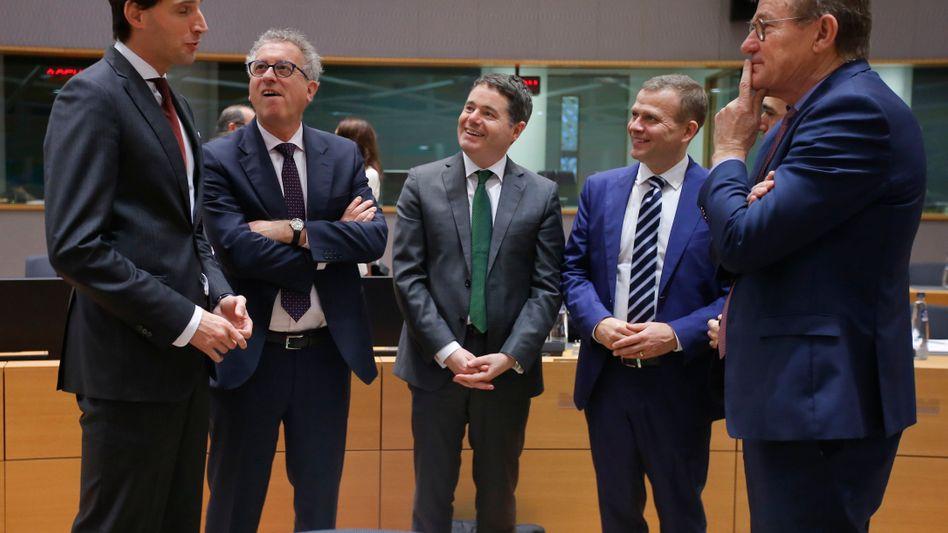 Netherlands Finance Minister Wopke Hoekstra (left) with other eurozone finance ministers last week.