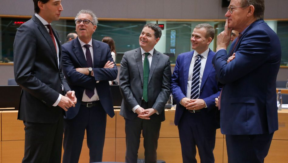 Netherlands Finance Minister Wopke Hoekstra (left) with other eurozone finance ministers last week.