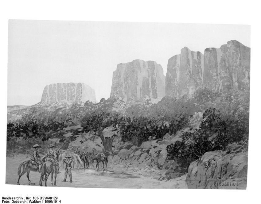 Солдаты на Ватерберге: 11 августа 1904 года колониальные войска вышли на Ватерберг для решающей битвы против восстания гереро.