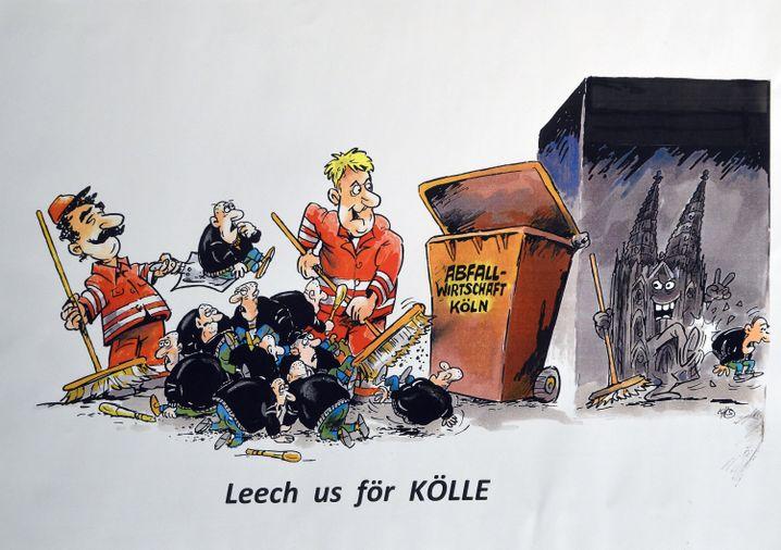 Entwurf eines Kölner Karnevalswagens: Müllmänner, die Rechte aufkehren