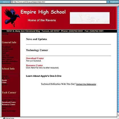 Rabe als Maskottchen: Homepage der Empire High School