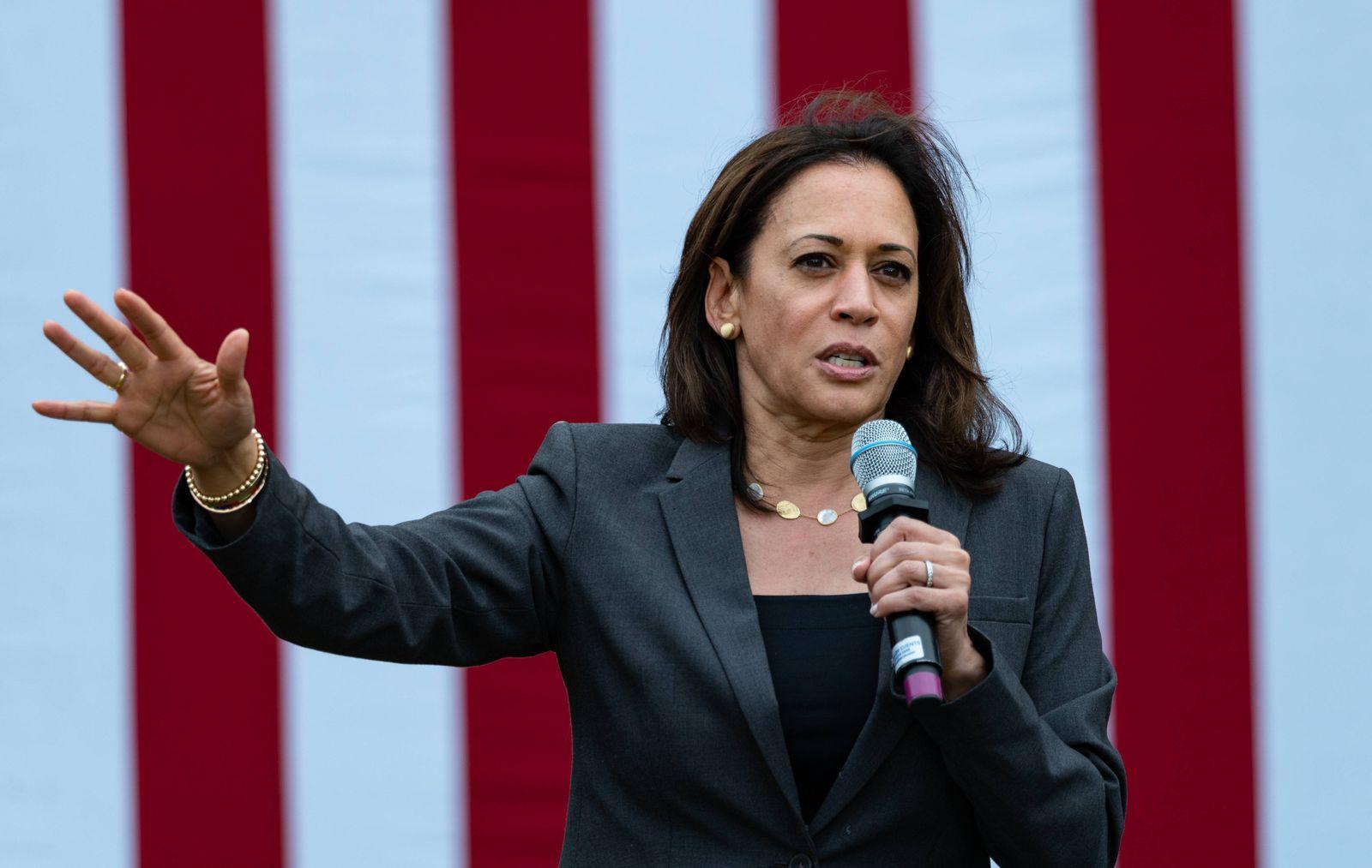 September 6, 2019, Mac s Apples, Londonderry, New Hampshire, USA: Democratic Presidential candidate Senator Kamala Harr