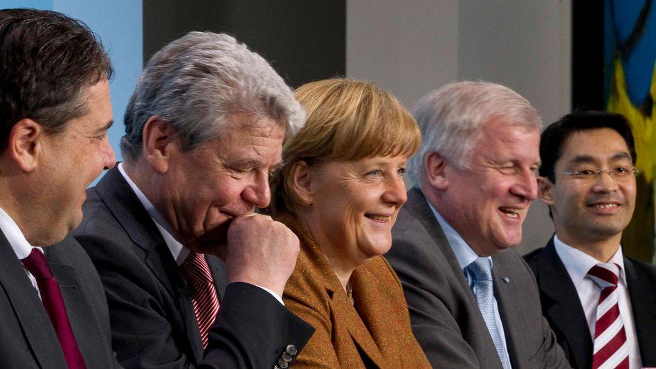 """Gauck mit Merkel, Gabriel, Seehofer, Rösler: """"Ich bin einverstanden. Ich mache das"""""""