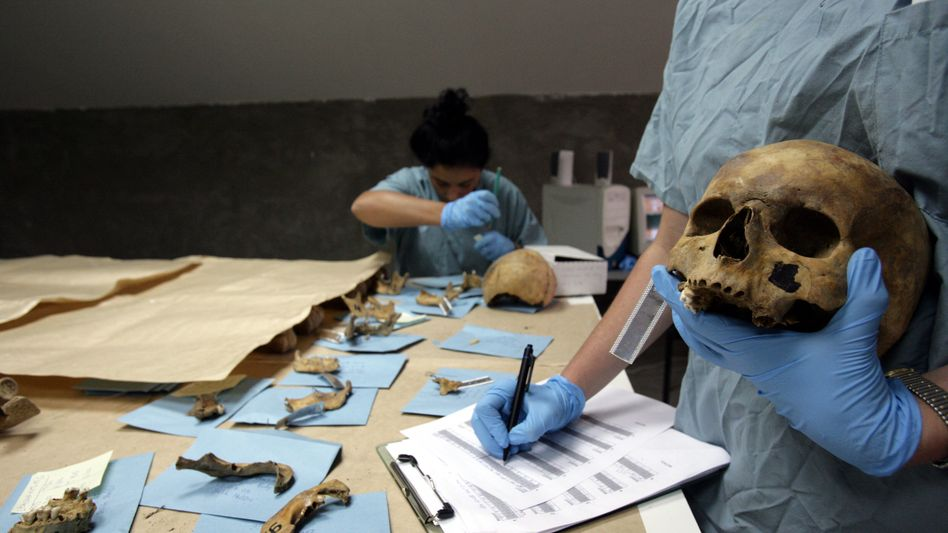 Forensic anthropologists at work in Bosnia.