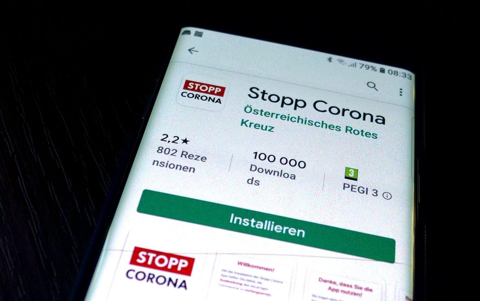 "++ THEMENBILD ++ CORONAVIRUS: ""STOPP CORONA APP"""