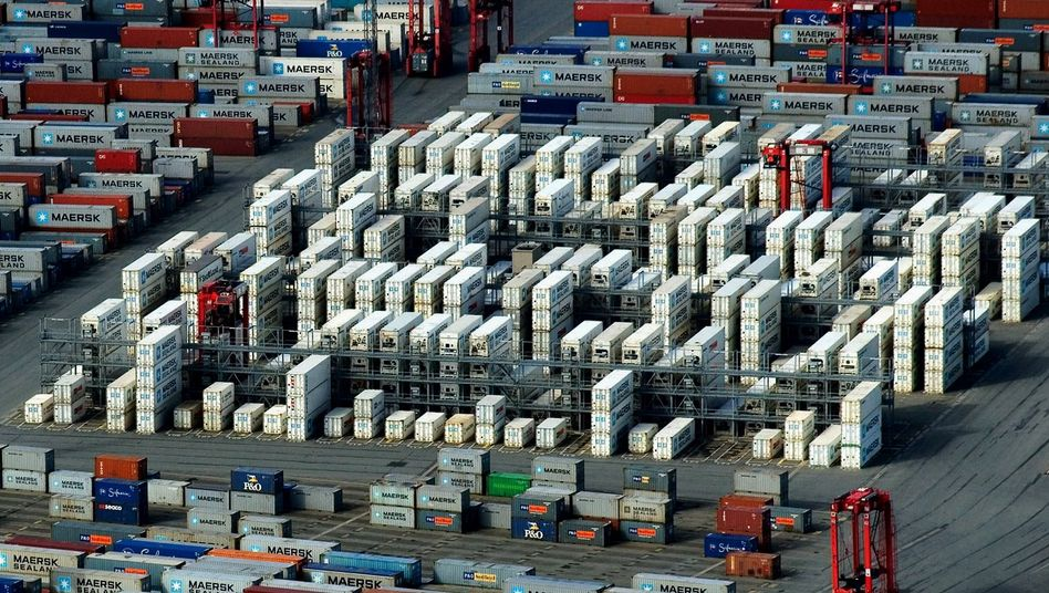 An aerial photo shows shipping containers awaiting shipment at Germany's Bremerhaven port.