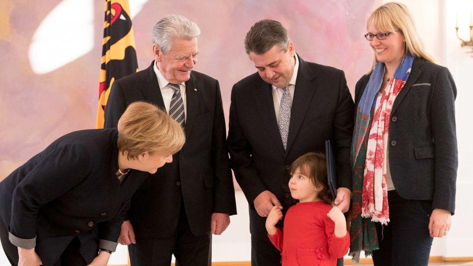 Merkel, Gauck und Familie Gabriel