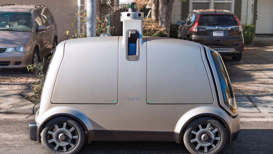 Kein Platz für Fahrer oder Passagiere, nur für Ladung: das Lieferfahrzeug des Start-ups Nuro
