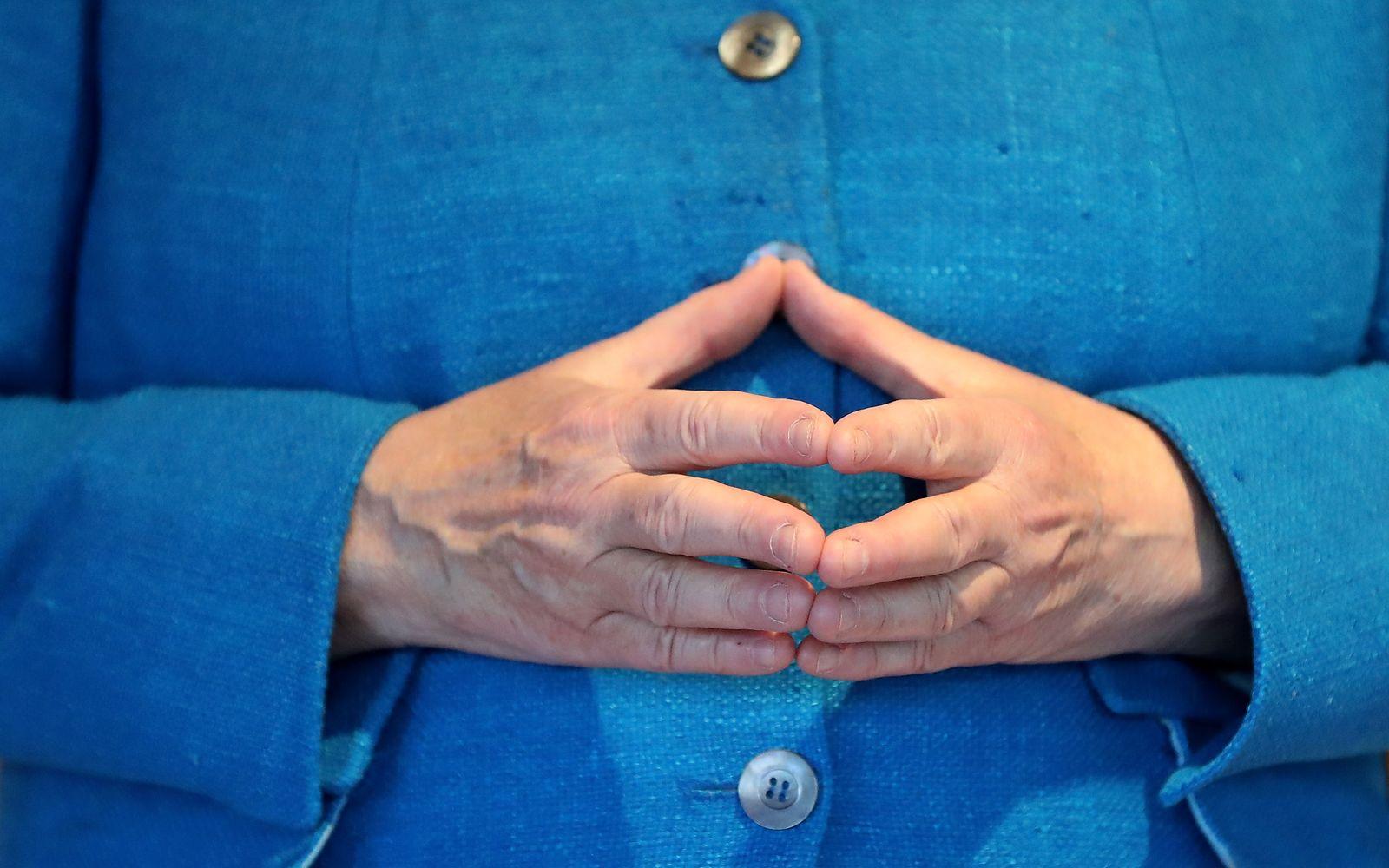 German Chancellor Merkel visits the Duesseldorf Schauspielhaus theater