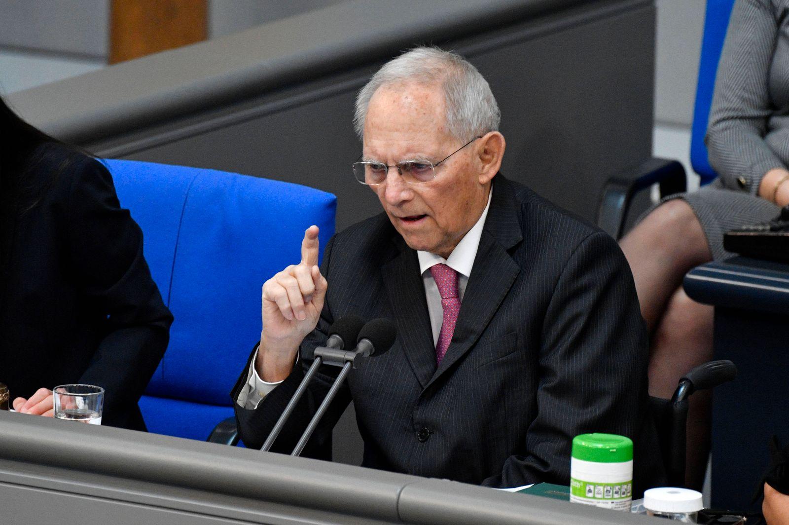 Wolfgang Schäuble in der 219. Sitzung des Deutschen Bundestages im Reichstagsgebäude. Berlin, 26.03.2021 *** Wolfgang Sc