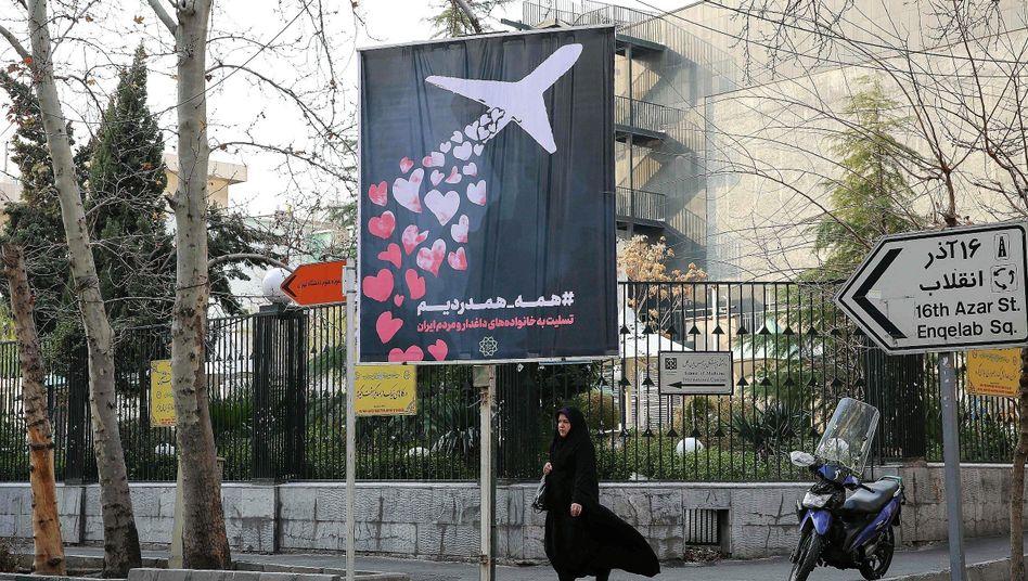 """Plakat zum Gedenken an den Flugzeugabsturz in Teheran:""""Wir haben jetzt auch einen Hitler"""""""