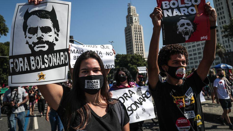 Protest gegen Präsident Bolsonaro in Rio de Janeiro (am 3. Juli)