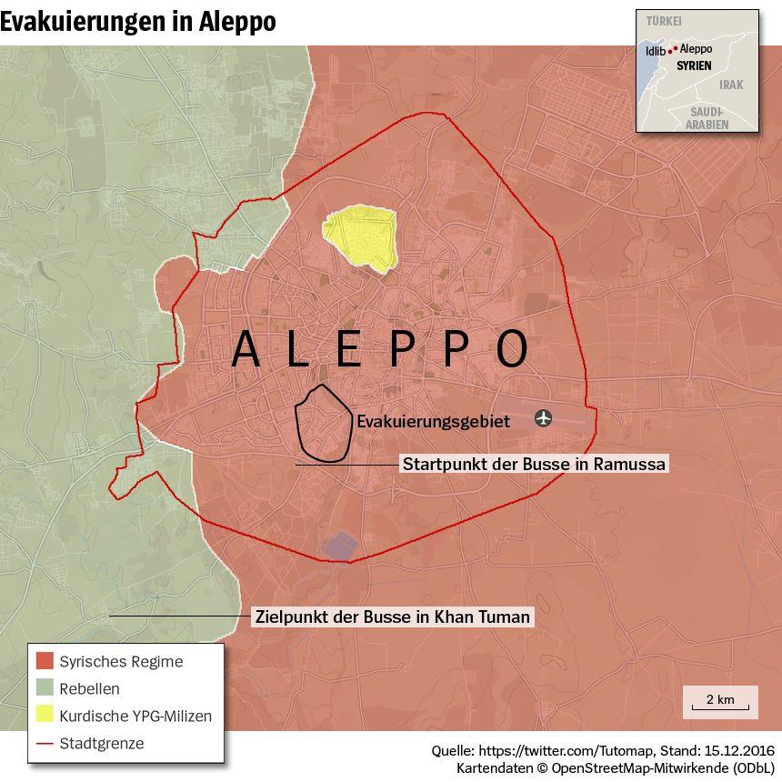 Grafik Karte Syrien Aleppo - Evakuierungen in Aleppo - Stand 15-12-2016