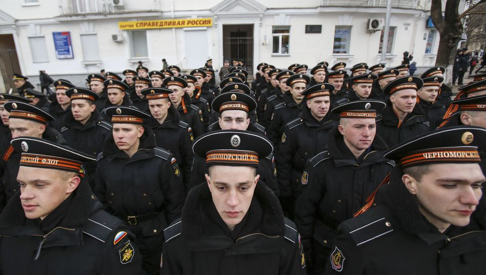 Sailors with the Russian Navy at a March celebration of Russia's annexation of Crimea.