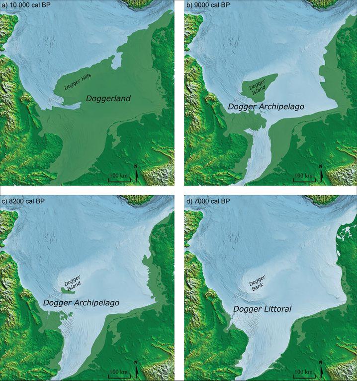 Zeitliche Rekonstruktion der Küstenlinie mit dem Doggerland und der Doggerbank