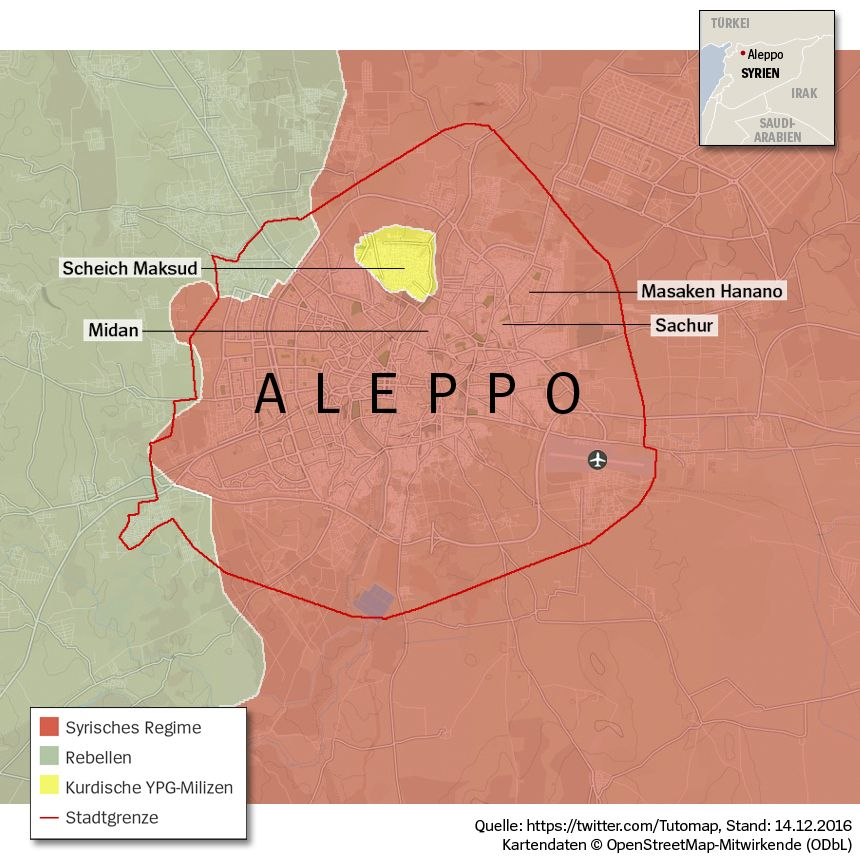 Grafik Karte Syrien Aleppo - Umkämpftes Aleppo - Stand 14-12-2016