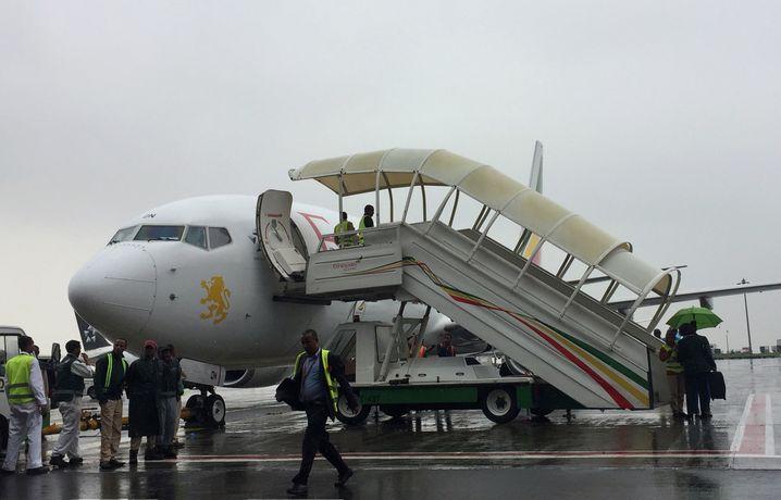 Flugzeug von Ethiopian Airlines in Addis Abeba