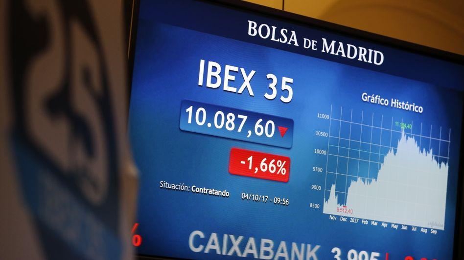 Börsentafel in Madrid am 4. Oktober 2017