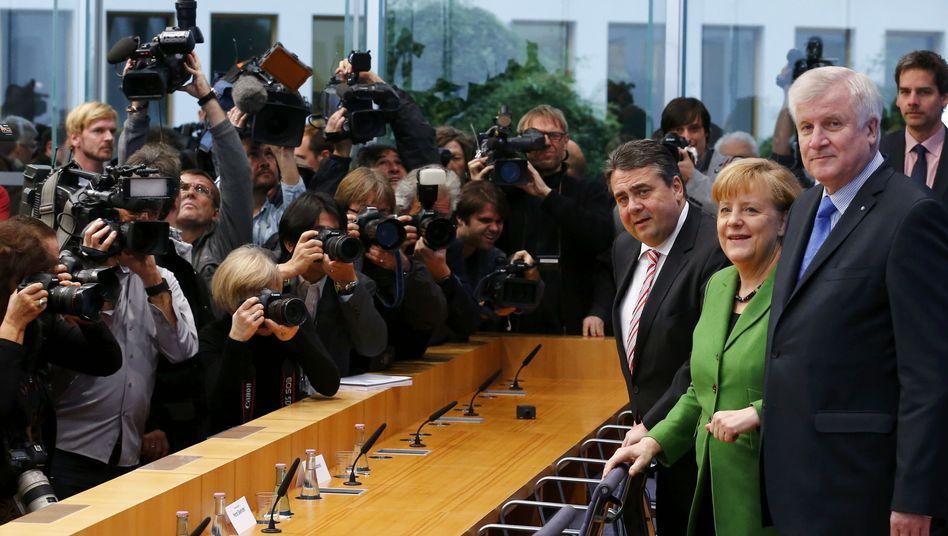 Parteichefs Gabriel, Merkel, Seehofer: Endspurt in Richtung Schwarz-Rot
