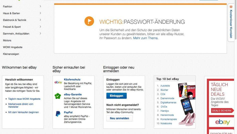Warnung auf der Ebay-Homepage: Nutzer sollen ihr Passwort ändern