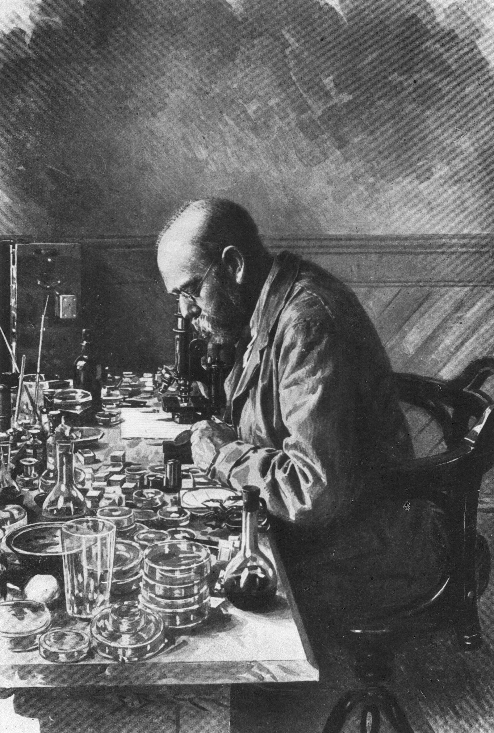 ROBERT KOCH (1843-1910). German physician and bacteriologist. Drawing, 1897.