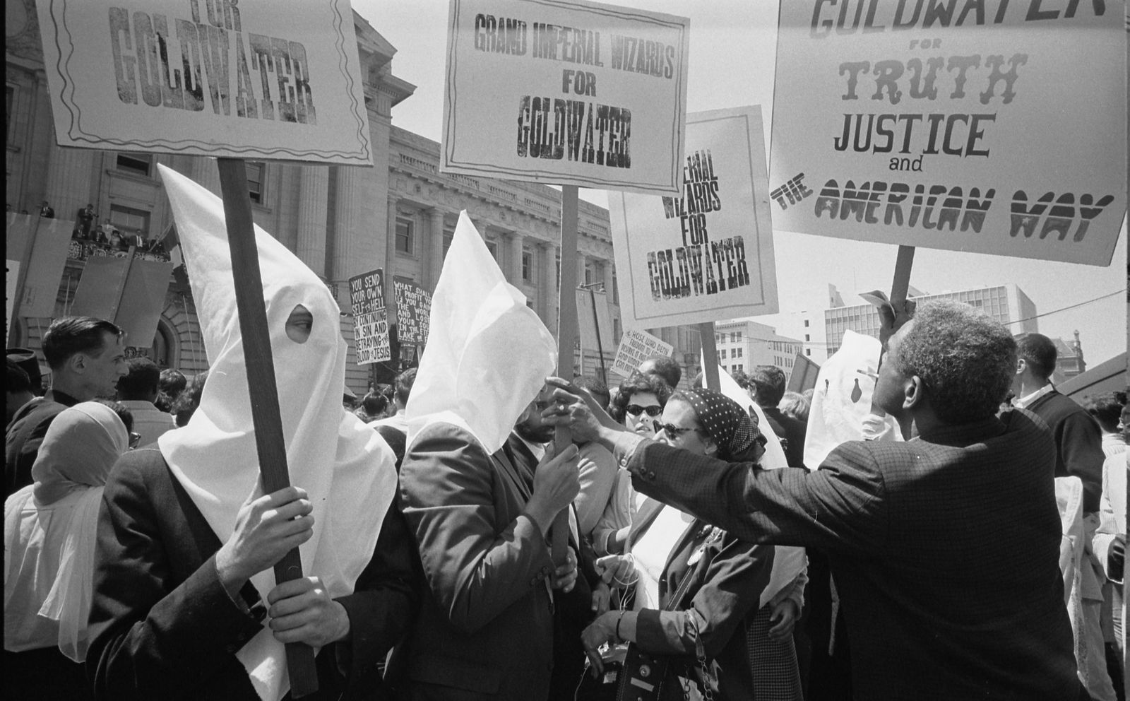 Ku Klux Klan members supporting Barry Goldwater s campaign for the presidential nomination at the Re