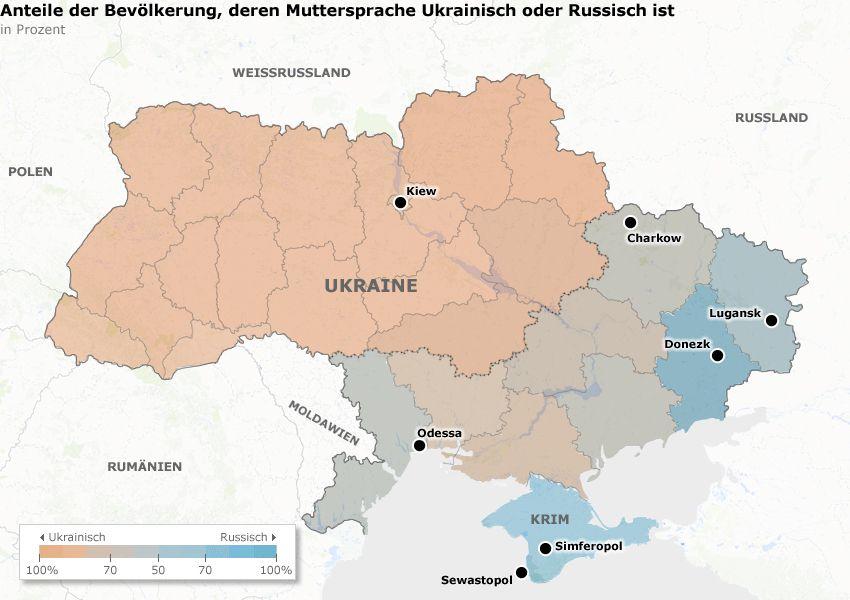Karte Ukraine - Anteile der Bevölkerung, deren Muttersprache Ukrainisch oder Russisch ist v2
