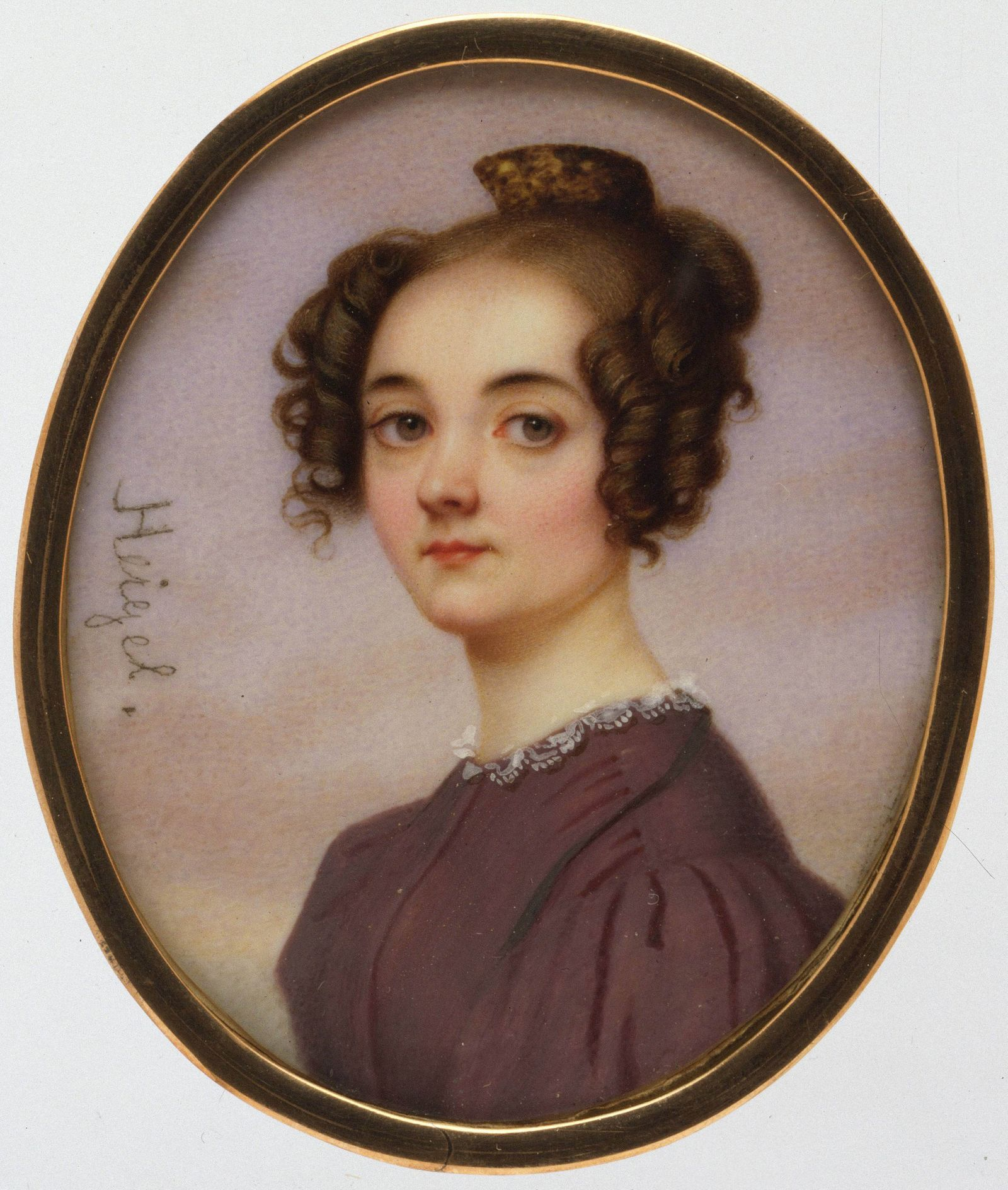 Lola Montez 1818ñ1861 Ivory Oval 2 1 2 x 2 1 8 in 65 x 54 mm Miniatures Attributed to Jose