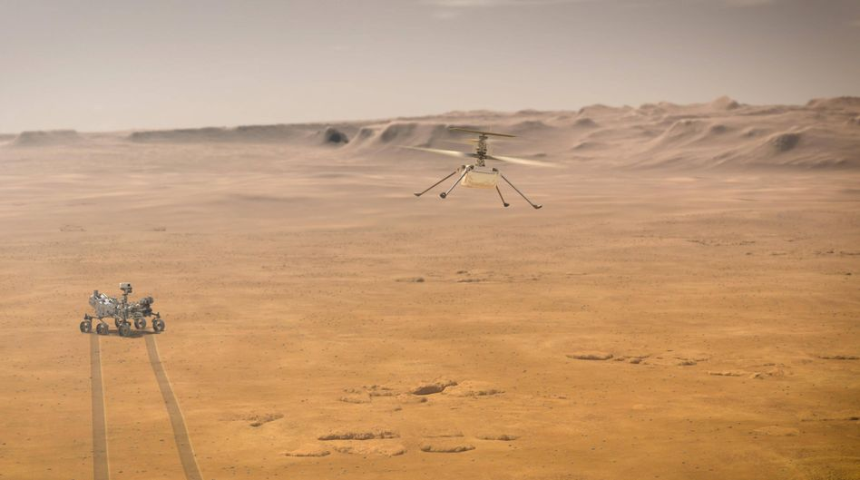 """Perseverance"" hat neben technischen Geräten auch einen kleinen Helikopter an Bord."