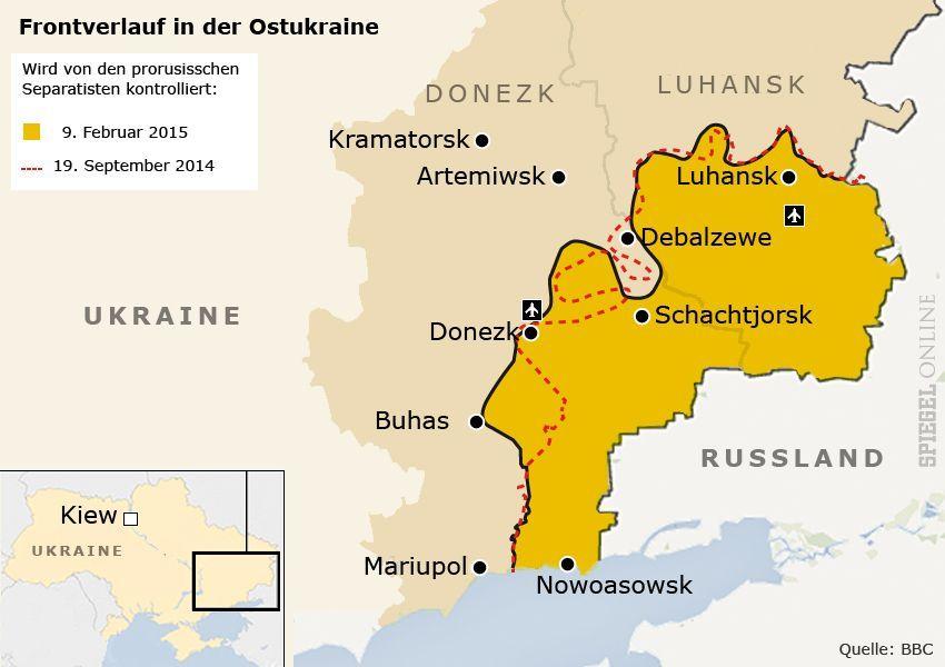 Karte Frontverlauf in der Ostukraine
