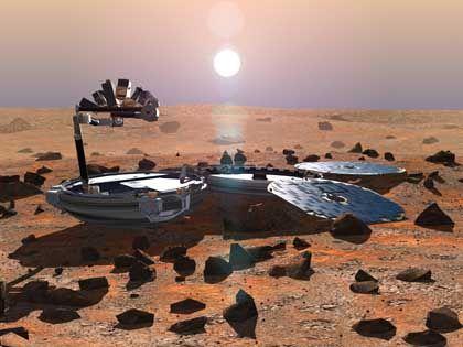 """Zwischen Mai und Juli sollen drei Sonden zum Mars starten: Die europäische Mission """"Mars Express"""" transportiert den oben abgebildeten, in Großbritannien gebauten Lander """"Beagle 2"""", Nasa-Sonden sollen auf dem Roten Planeten zwei """"Mars Exploration Rover"""" absetzen. Lutz Richter vom Kölner Institut für Raumsimulation des Deutschen Zentrums für Luft- und Raumfahrt ist verantwortlich für das Bohrgerät von """"Beagle 2"""", hat aber auch an der Entwicklung der Rover mitgewirkt."""