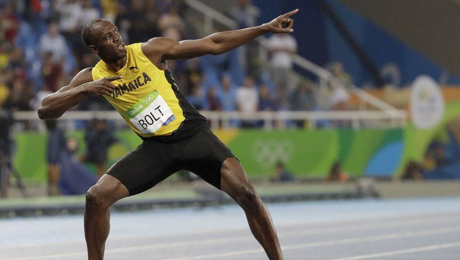 Usain Bolt in typischer Bolt-Pose (bei Olympia 2016 in Rio)