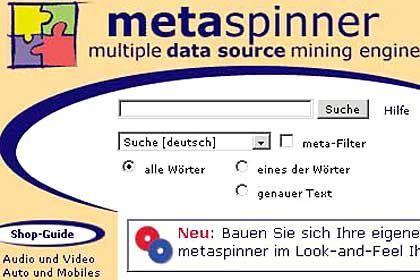 Metaspinner: Deutsches Angebot mit vielen Zusatzmöglichkeiten - bis hin zum anonymisierten Surfen