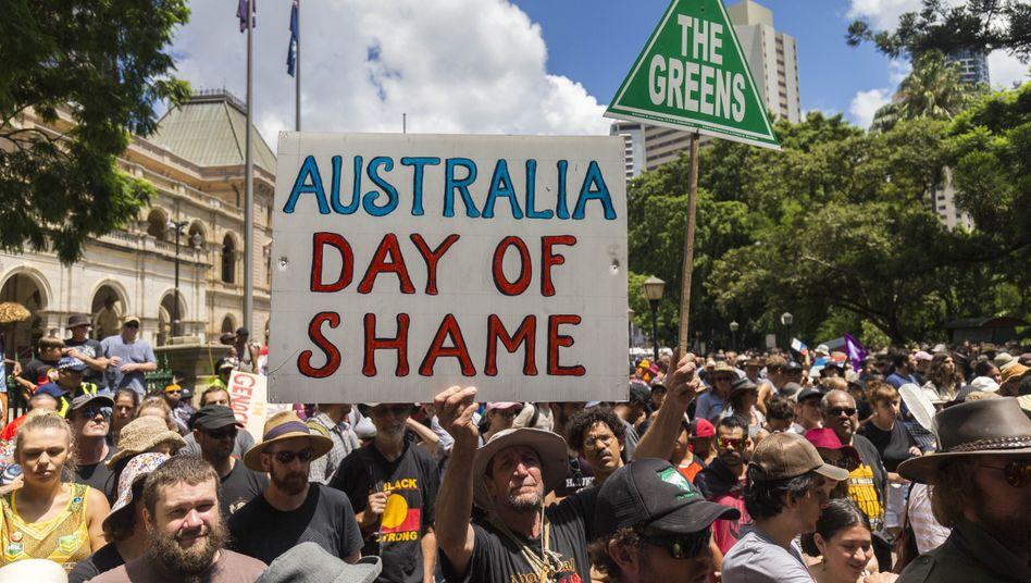 Proteste in Brisbane während des australischen Nationalfeiertags (am 26. Januar 2018): Keine Fortschritte