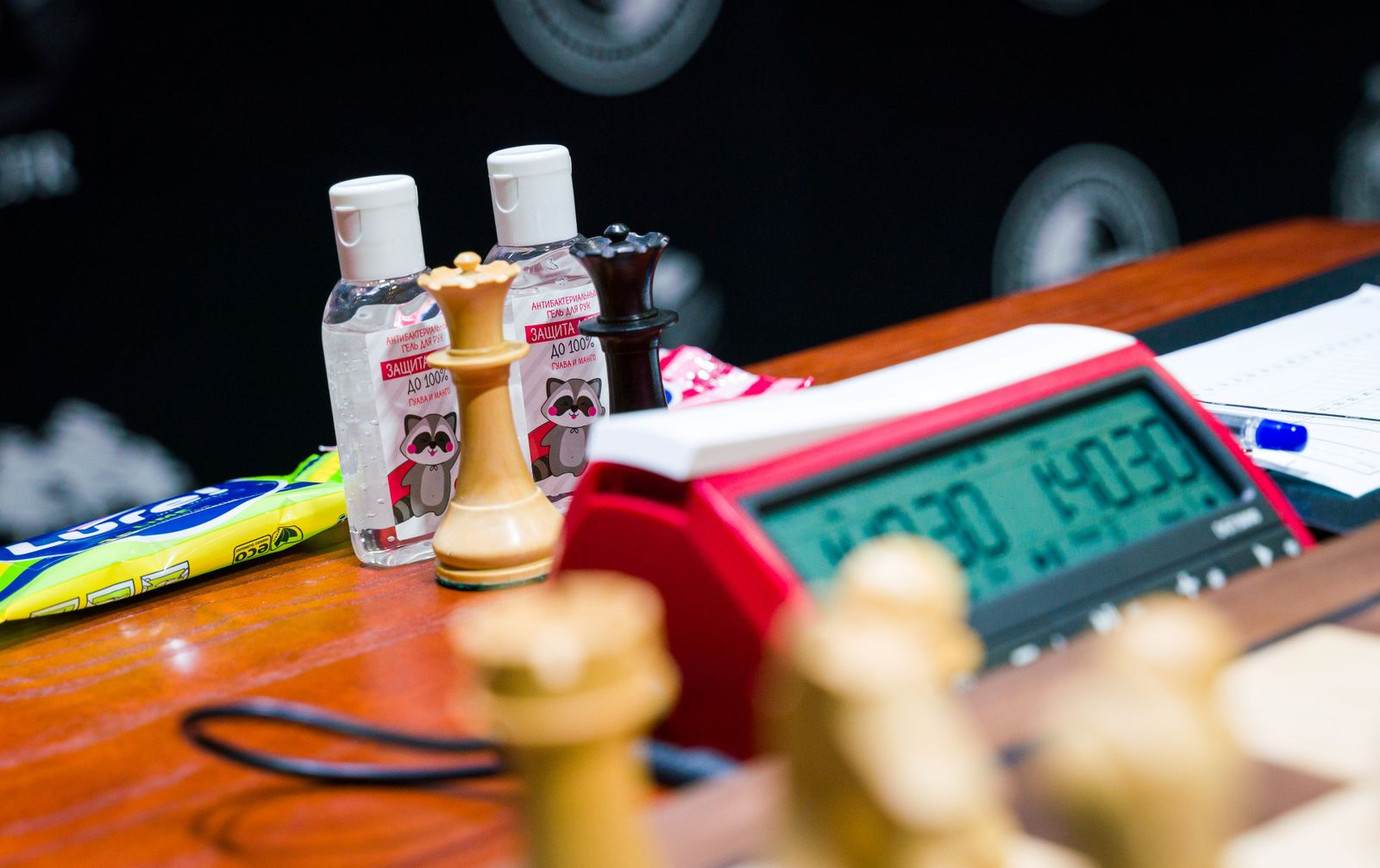 Bottles with hand sanitiser are seen near the chessboard during the Candidates Tournament in Yekaterinburg