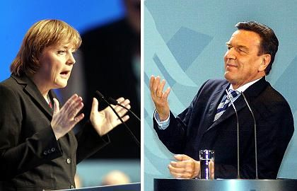 Konkurrenten Merkel, Schröder: Verständliche Links-rechts-Kombination