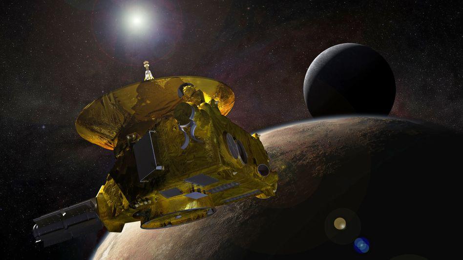 """Sonde """"New Horizons"""" am Pluto (künstlerische Darstellung)"""
