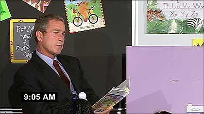Präsident Bush am 11. September in einer Kinderschule: Lose-Lose-Situation