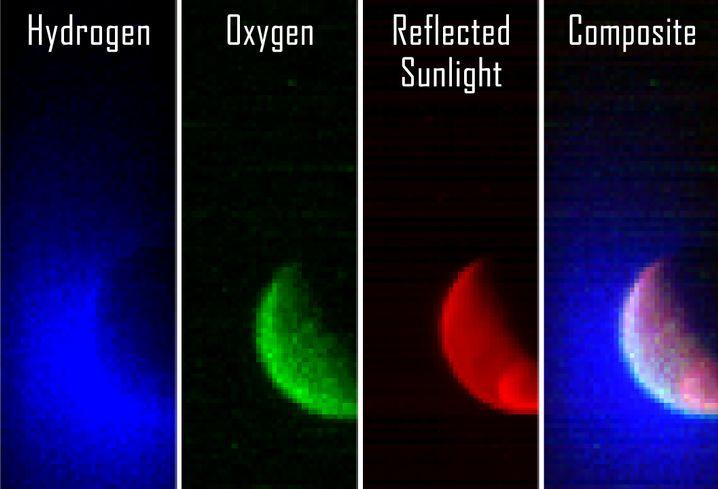 """""""Maven""""-Ultraviolettbilder: Die Aufnahmen zeigen Sonnenlicht, das von Wasserstoffatomen (blau), Sauerstoffatomen (rot) und der Planetenoberfläche (rot) reflektiert wurde. Ganz rechts sind alle drei Wellenlängenbereiche kombiniert."""