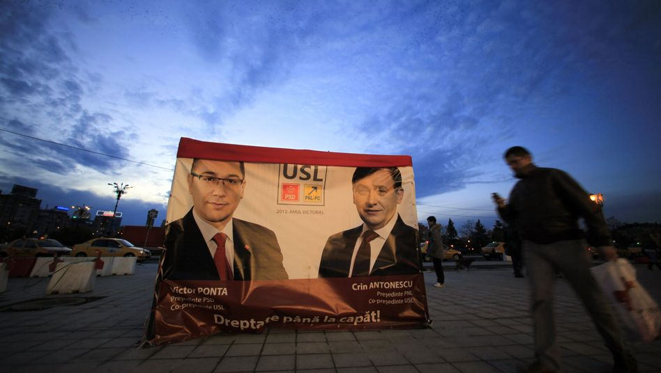Prime Minister Victor Ponta, here on a campaign poster in Bucharest, appears to have won re-election.