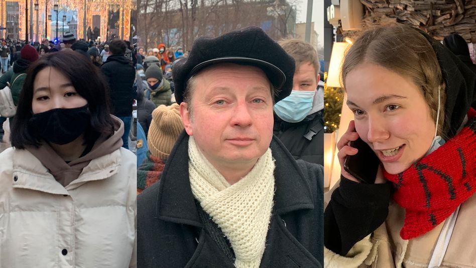 Drei Teilnehmer der Proteste in Moskau