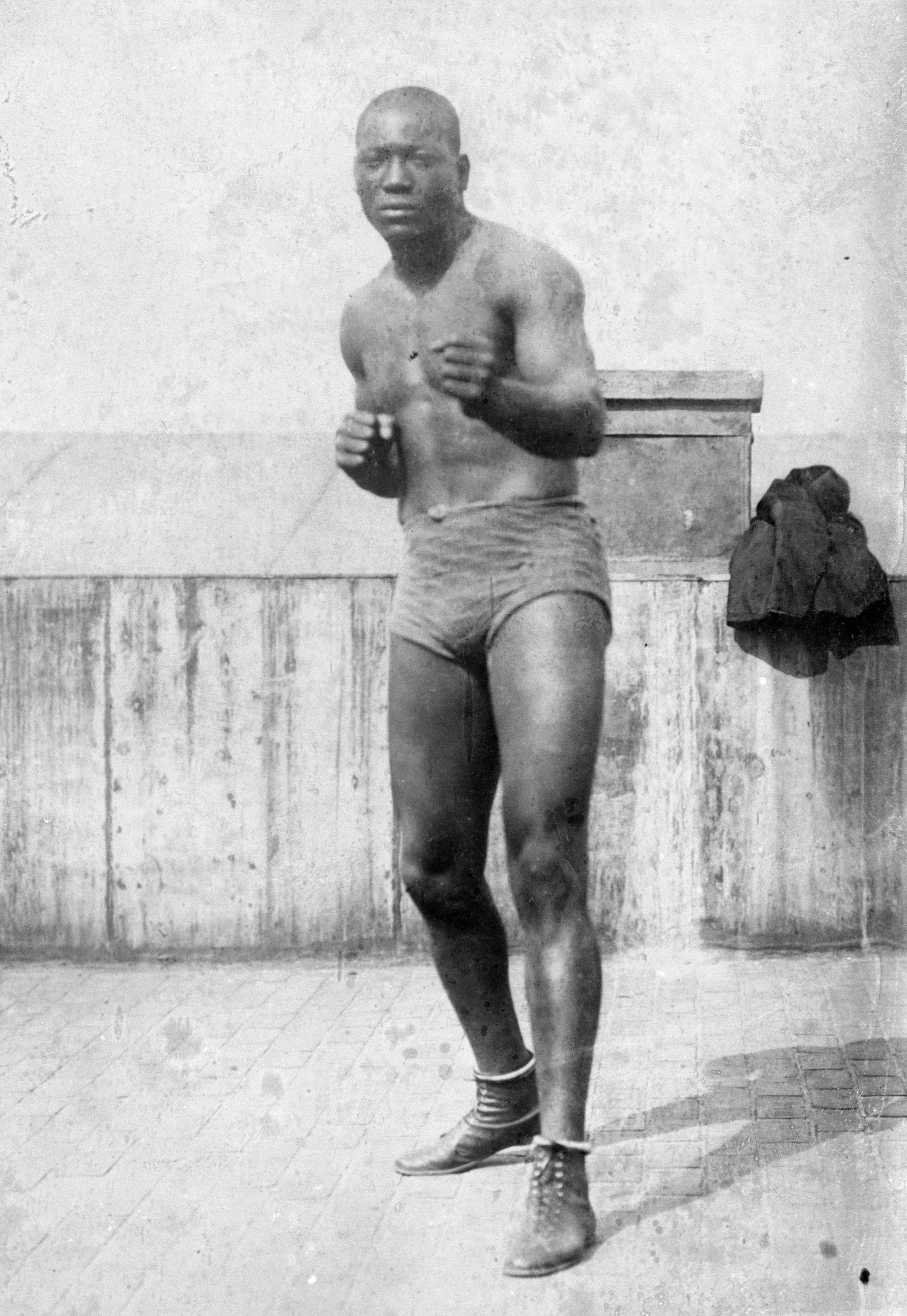 Portrait of Jack Johnson in Fighting Stance