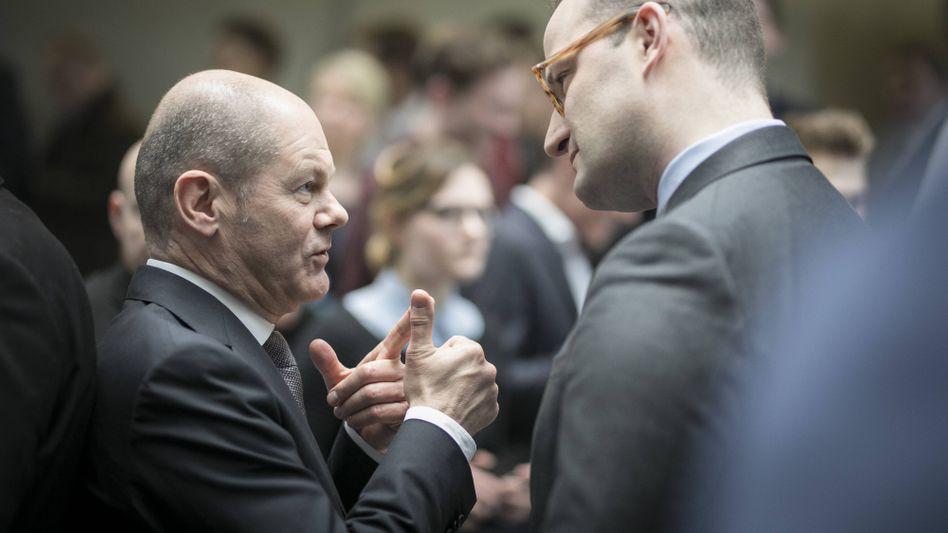 Spahn mit dem kommissarischen SPD-Chef Scholz