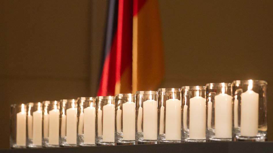 Candles at Thursday's memorial service in Berlin.