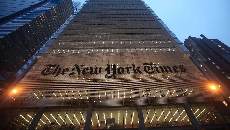 """Die Zentrale der """"New York Times"""" in New York: Das Medienunternehmen zieht sich zum Teil aus Hongkong zurück"""